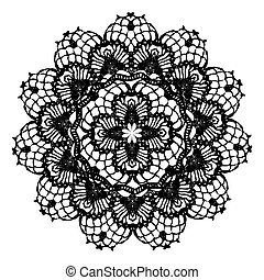 Black crochet doily. Vector illustration. May be used for...