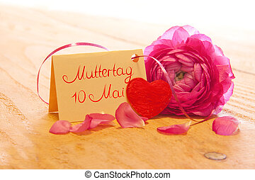 Mother day card. - Pink rose and Mother day card.