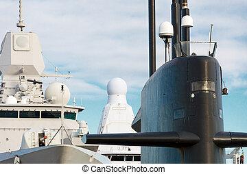 naval, fleet., Submarino, y, buques de guerra, con, guns.,