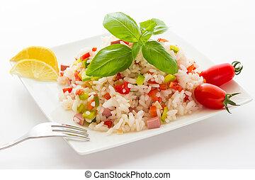 arroz, ensalada