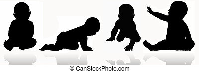 Silhoette of baby - Simple silhoettes of babies playing and...
