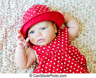 fashion baby - sweet baby wearing dotted dress and hat