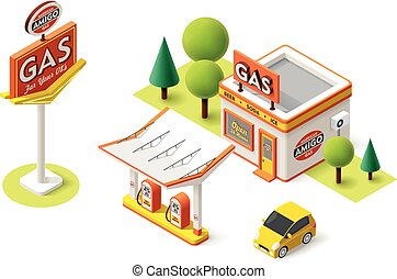 Vector gas filling station - Vector isometric gas filling...