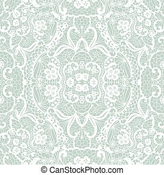 Lace seamless pattern with flowers - White lace seamless...