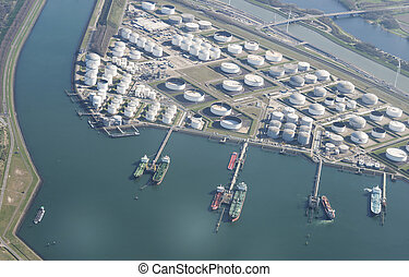 jettys at rotterdam europoort area - container boats in the...