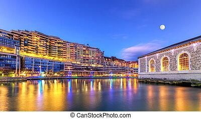 BFM, buildings and Rhone river, Geneva, Switzerland, HDR