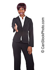 hand shake - african girl smart casual dressed offering a...