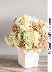 Vase flower with copy space - vintage filter