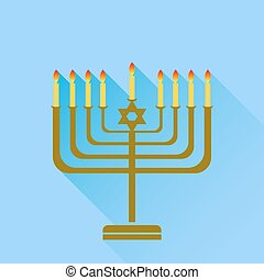 Menorah - Jewish Holiday Hanukkah Menorah Burning Candles...