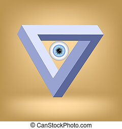 Triangle - Blue Triangle With Eye Isolated on Brown...