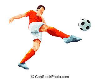 soccer player kicking ball in orange