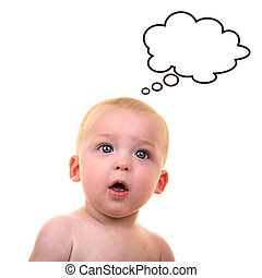 Surprised baby with thought bubble - Baby give questioning...