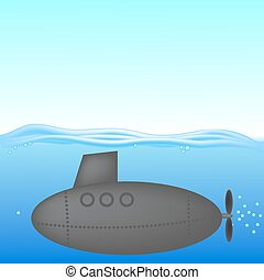 Submarine under Water. The Military Ship in the Sea