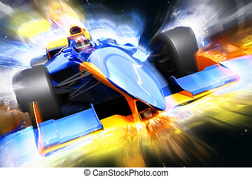 F1 bolide with light effect. Race car with no brand name is...