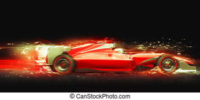 Formula One race car with light effect. Race car with no...