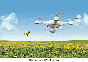 Quadrocopter drone with the camera - This is 3D model was...
