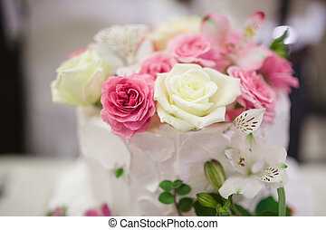 Wedding cake - sweet Wedding cake decorated with beautiful...