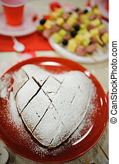 valentine cake looking like heart sweet and tasty