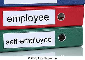 Employee or self-employed business concept in office