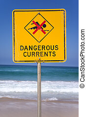 Dangerous currents sign on the beach in Australia