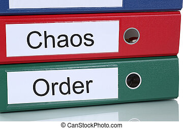 Chaos and order organisation in office business concept -...