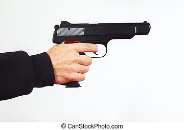 Hand with semi-automatic pistol on white background - Hand...