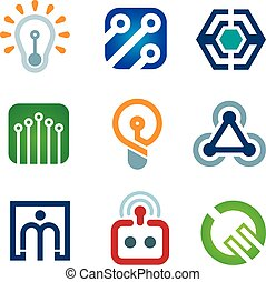New age of innovative technology modern society icon set