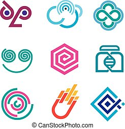 Innovative colorful social network science set of icons and...