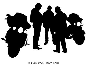 Riders - People and sport bike on white background