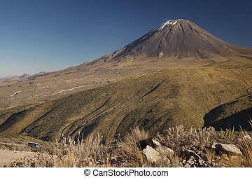 Not typical view of active volcano Misti, Arequipa, Peru