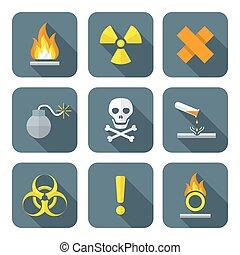 colorful flat style hazardous waste symbols warning signs...