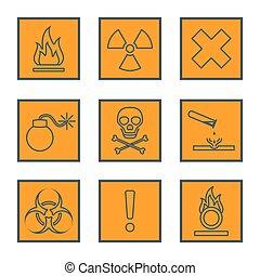 orange square black outline hazardous waste symbols warning...