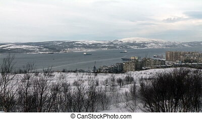 Bay near the city of Murmansk and ships