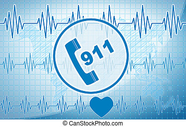 911 concept on a blue medical background