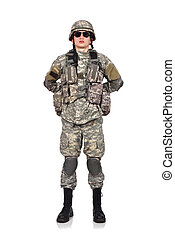 US soldier standing on a white background