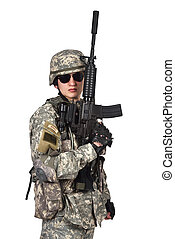 soldier raised his rifle up on a white background