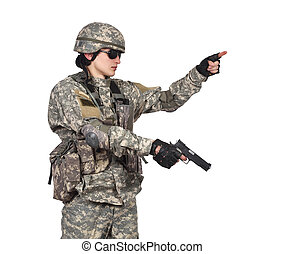 soldier with gun on a white background