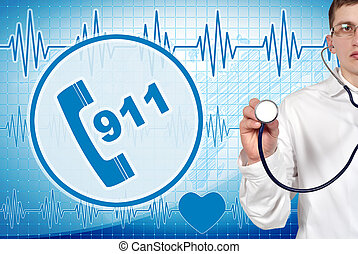 911 symbol - Young doctor holding stethoscope with 911...