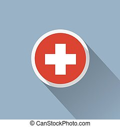 Switzerland Flag Button Icon
