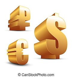 3D signs Dollar Euro and Ruble