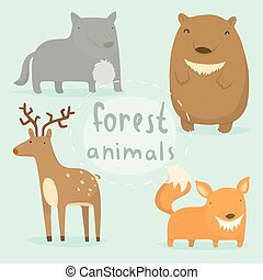 Forest animals set Vector hand drawn illustration