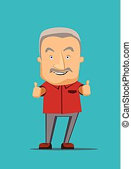 Old man giving a thumbs up vector illustration