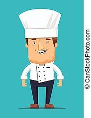 Chief chef cook in kitchen luxury restaurant in uniform...