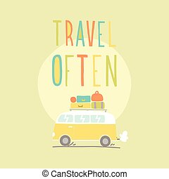 Travel often. Van with a lot of luggage. Vector hand drawn...