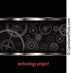 Background with technology gears, vector illustration
