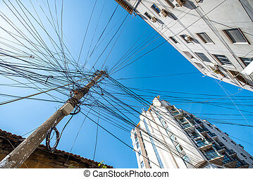 Power lines - Chaotic power lines in Tirana city, Albania