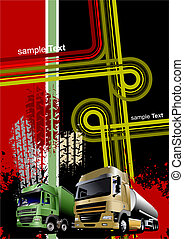 Cover for brochure or template office folder with grunge urban images. Vector