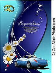 Wedding invitation with cabriolet image. Vector