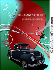 Green business background with retro car image. Vector illustration