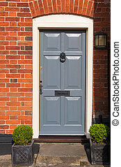 Wooden front door of an English house
